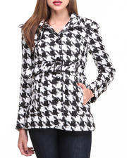 Holiday Gift Ideas - Her - Houndstooth Heavy Coat w/belt-1680218
