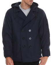 Heavy Coats - Wool Peacoat with Removable Hood