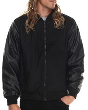 Basic Essentials - Zip Varsity Faux Leather Jacket-1861061
