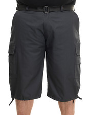 Big & Tall - Belted Cotton Cargo Shorts (B&T)-1884298