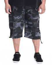 Big & Tall - Belted Cotton Camo Cargo Shorts (B&T)-1916409