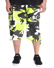 Basic Essentials - Belted Cotton Camo Cargo Shorts (B&T)-1916429