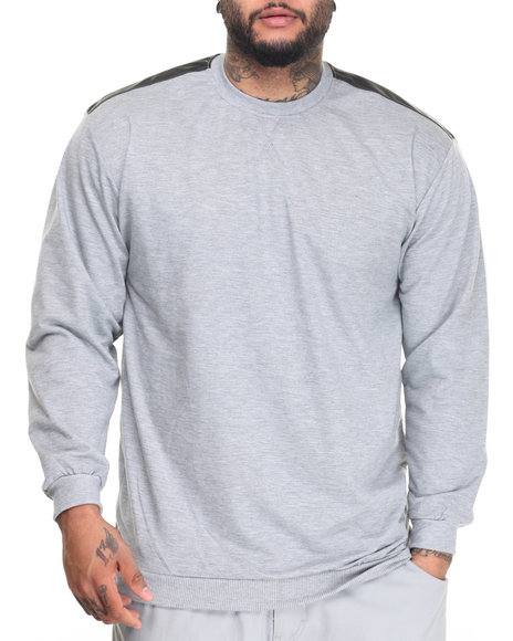 Basic Essentials - L/S French Terry Crew Neck Pullover w/ Faux Leather Trim (B+T)