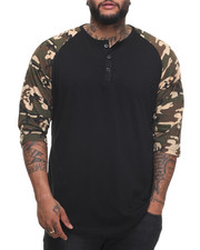 Basic Essentials - 3/4 SLEEVE HENLEY TEE (B&T)-1991704