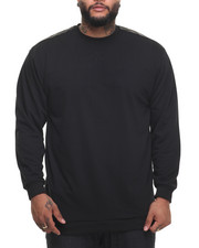 Basic Essentials - FRENCH TERRY CREW NECK SWEATSHIRT W/ FAUX LEATHER TRIM (B&T)-1991709