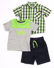 Lee - 3 PC SET - PLAID WOVEN, TEE, & DENIM SHORTS (INFANT)