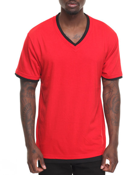 Basic Essentials - Basic Double - Collar V - Neck S/S Tee