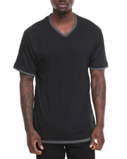 Men - Basic Double - Collar V - Neck S/S Tee-2009939