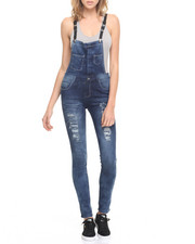 Women - Destructed Vegan Leather Straps Overall