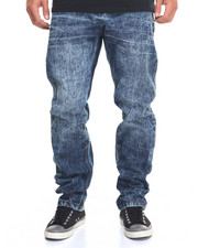 Straight - Cross - Hatch Washed - Down Denim Jeans