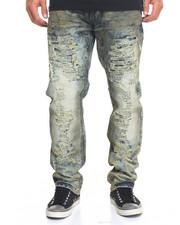 Men - Aged - Wash Rip - And - Repair Denim Jeans