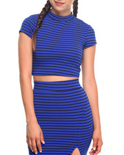 Short-Sleeve - Striped Crop Top