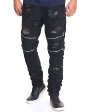 Men - Splinter Cell Camo - Lined Zip - Moto Denim Jeans