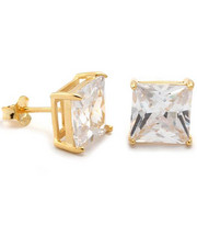 King Ice - 925 Sterling Silver Gold Clear Princess Stud earing (6mm)-1905833