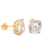 Accessories - Gold Clear Round Brilliant Sterling Silver CZ Stud Earrings 6mm