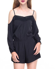 Jumpsuits - Cold Shoulder Crochet Front Crepe Romper