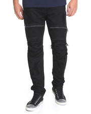 Men - Zipper - Trim Moto Rip - And - Repair Slub Twill Pants