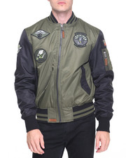 Men - Top Gun Color Block MA-1 Bomber Jacket with Patches