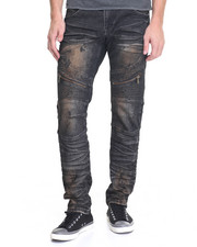 Men - Biker Jean -Smocked Knee & Zipper