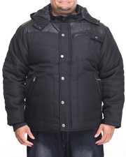 Cyber Monday Shop - Men - Ballistic Nylon Faux - Leather Quilted Hooded Parka W/ Storm Cuffs (B&T)-2058655