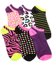 Accessories - Animal/Geo Print 6Pk Low Cut Socks