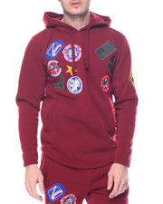 Buyers Picks - Military Patched Side - Zip Fleece Pullover Hoodie