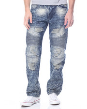 Men - Biker - Style Acid Washed Distressed Denim Jeans