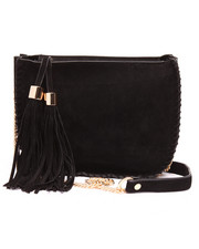 Bags - Faux Suede Chain Trim Tossel Crossbody Bag