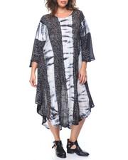 Fashion Lab - Tie Dye/ Floral Print  Flutter Sleeve Caftan Dress  (Plus)