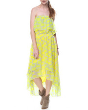 Dresses - Smocked Tube Geo Print Hi-Low Hem Dress