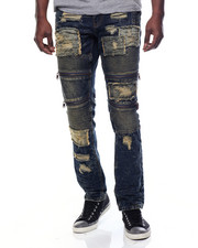Jeans - Broken Wash Moto Denim Jeans
