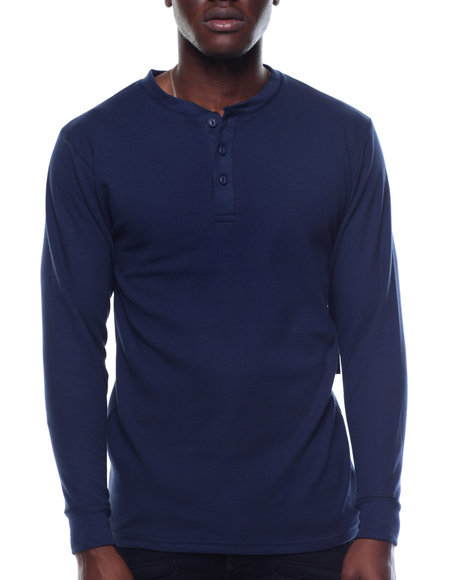 Basic Essentials - Three - Button Thermal Henley