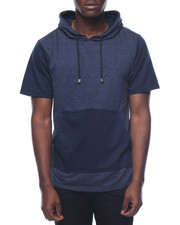 Hoodies - Contrast Pocket Fishtail Bottom S/S Pullover Hoodie