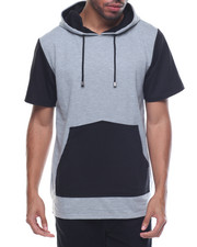 Basic Essentials - Contrast Pocket Fishtail Bottom S/S Pullover Hoodie