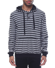 Hoodies - Reverse French Terry Striped Pullover Hoodie