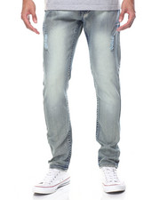 Men - Monarchy Flap - Pocket All - Over Blasted Denim Jeans