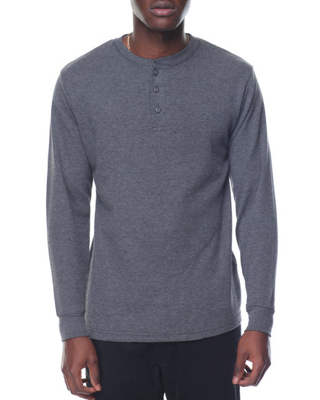 Basic Essentials - Two - Button Thermal Henley