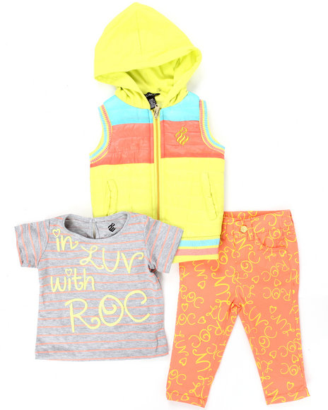 Rocawear - 3 PC SET - HOODED VEST, TEE, AND PRINTED PANTS (INFANT)