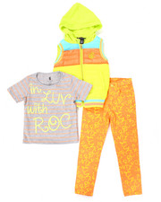 Girls - 3 PC SET - HOODED VEST, TEE, AND PRINTED PANTS (4-6X)