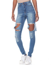 Jeans - Destructed Cut Outs Stretch Skinny Jean