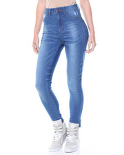 Women - High Waisted Blasted Ripples Skinny Jean