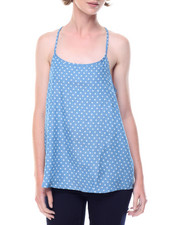 Tops - Star Print Lace Back Denim Cami