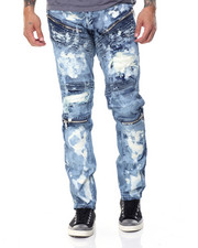 Jeans & Pants - Biker Distressed Wash Denim Jeans