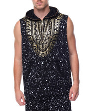 Men - Sleeveless Tribal Hoodie