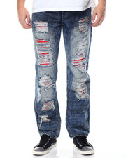 Men - Torn Jean with Red Back Detail