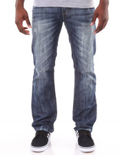 Basic Essentials - Slim - Straight Acid Washed Crinkled Denim Jeans