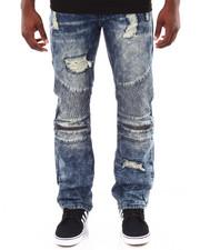 Basic Essentials - Moto Acid - Washed Denim Jeans