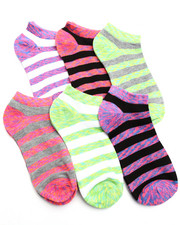 Accessories - Bright Space Dye/ Stripes 6Pk Low Cut Socks