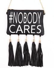Women - #Nobody Cares Hanging Tossles Crossbody Bag