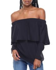 Women - Off Shoulder Ruffle Front Tie Back Top
